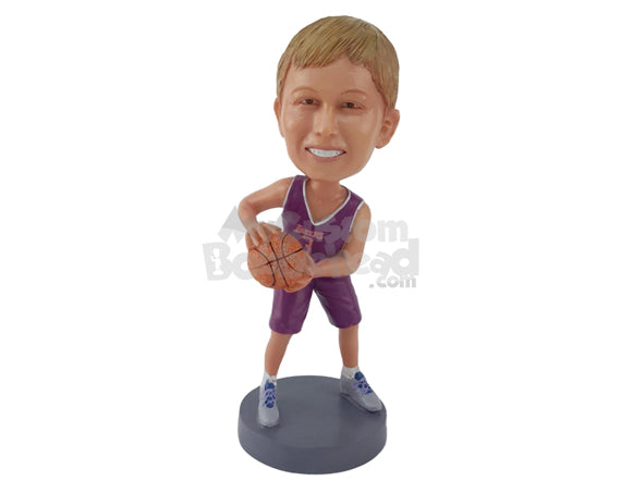 Custom Bobblehead A Basketball Guy Holding Basketball - Sports & Hobbies Basketball Personalized Bobblehead & Cake Topper