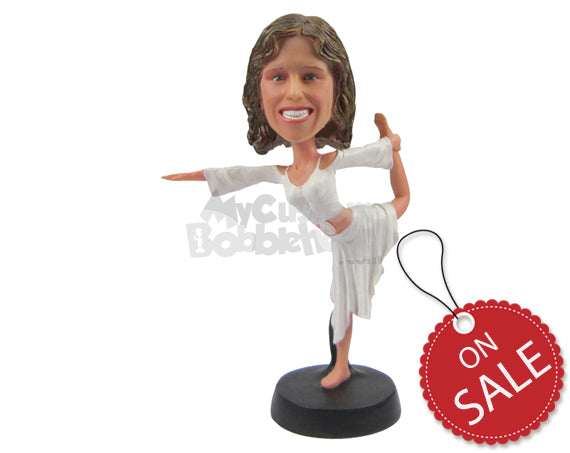 Custom Bobblehead Female Ballet Dancer Wearing Tops And Skirts Performing With Nice Dancing Move - Sports & Hobbies Dancing Personalized Bobblehead & Cake Topper