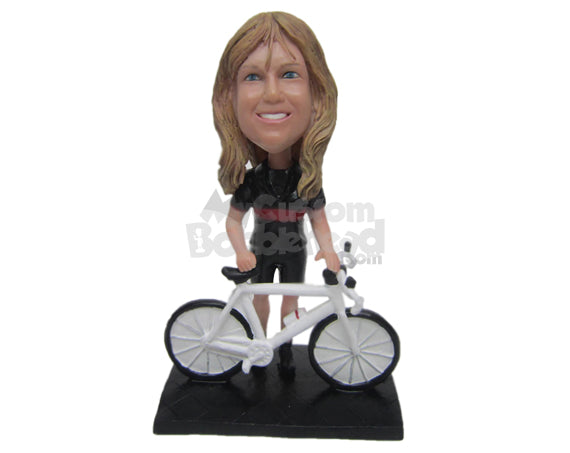 Custom Bobblehead Female Cyclist With A Mountain Bike - Sports & Hobbies Cycling Personalized Bobblehead & Cake Topper