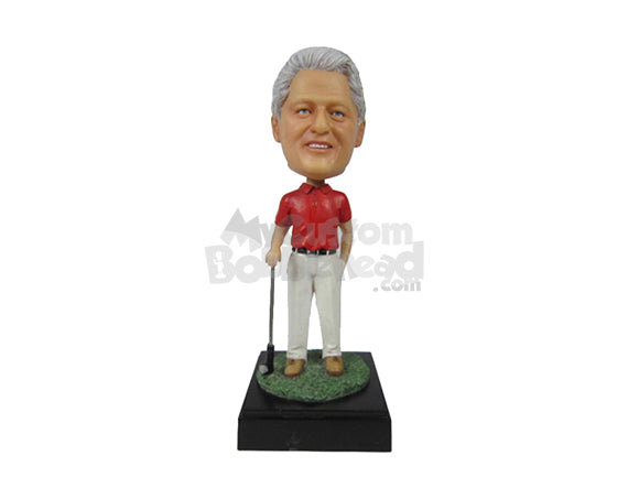 Custom Bobblehead Classic Golfer With A Golf Club Posing For Pictures - Sports & Hobbies Golfing Personalized Bobblehead & Cake Topper