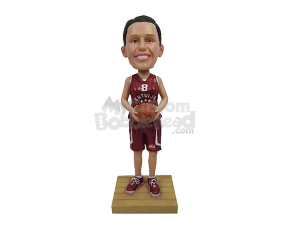 Custom Bobblehead Female Basketball Player With Ball In Hand Ready To Score - Sports & Hobbies Basketball Personalized Bobblehead & Cake Topper