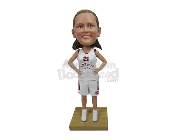 Custom Bobblehead Female Basketball Player With Hands On Waist - Sports & Hobbies Basketball Personalized Bobblehead & Cake Topper