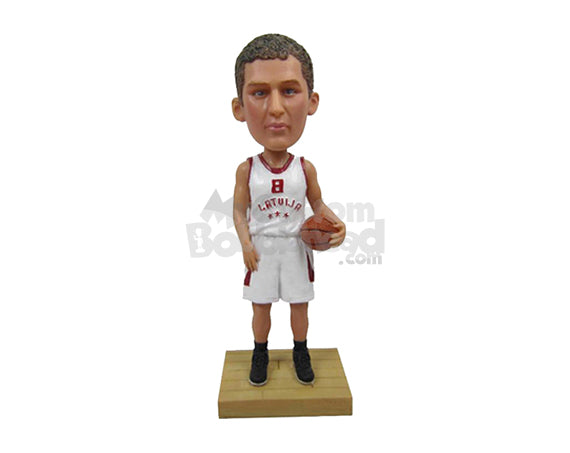 Custom Bobblehead Male Basketball Player With Hands On Waist And Ready To Play - Sports & Hobbies Basketball Personalized Bobblehead & Cake Topper