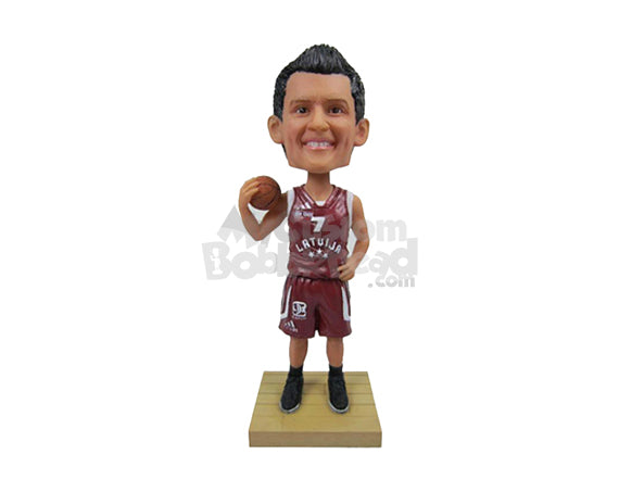 Custom Bobblehead Cool Basketball Player Looking At The Court - Sports & Hobbies Basketball Personalized Bobblehead & Cake Topper