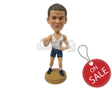 Custom Bobblehead Young Tough Wrestler Ready To Knock You Out - Sports & Hobbies Boxing & Martial Arts Personalized Bobblehead & Cake Topper