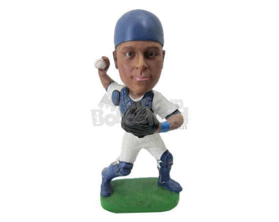 Custom Bobblehead Baseball Pitcher Is In His Pitching Stand - Sports & Hobbies Baseball & Softball Personalized Bobblehead & Cake Topper