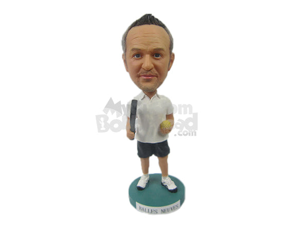 Custom Bobblehead Male Racquetball Player With Ball In Hand - Sports & Hobbies Tennis Personalized Bobblehead & Cake Topper