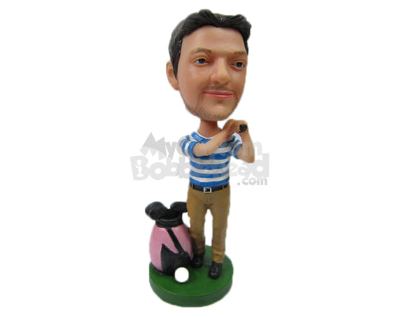 Custom Bobblehead Male Golfer In Hitting Pose Looking For The Ball In The Distance - Sports & Hobbies Golfing Personalized Bobblehead & Cake Topper