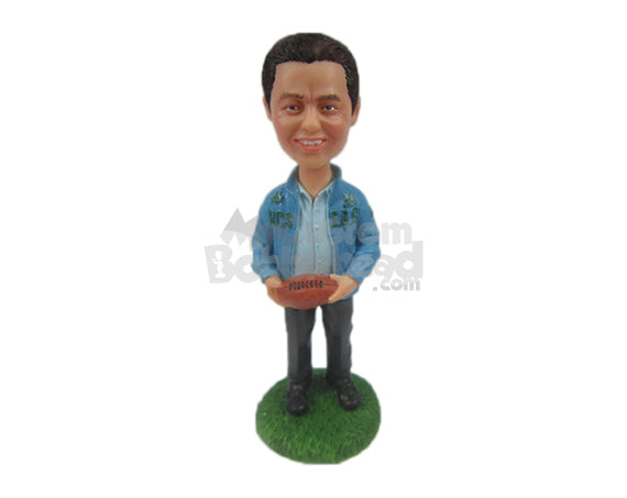 Custom Bobblehead Football Fan Dude Wearing Jacket Has A Ball In Hand - Sports & Hobbies Football Personalized Bobblehead & Cake Topper