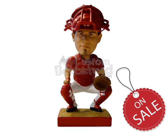 Custom Bobblehead Fearless Baseball Catcher About To Catch A Ball - Sports & Hobbies Baseball & Softball Personalized Bobblehead & Cake Topper