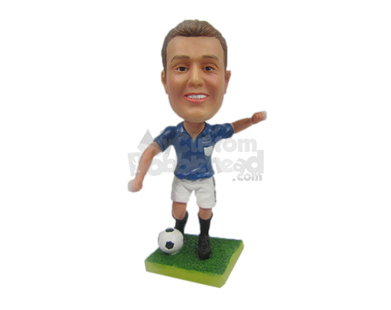 Custom Bobblehead Male Soccer Player Ready To Kick The Ball To Score Goals - Sports & Hobbies Soccer Personalized Bobblehead & Cake Topper