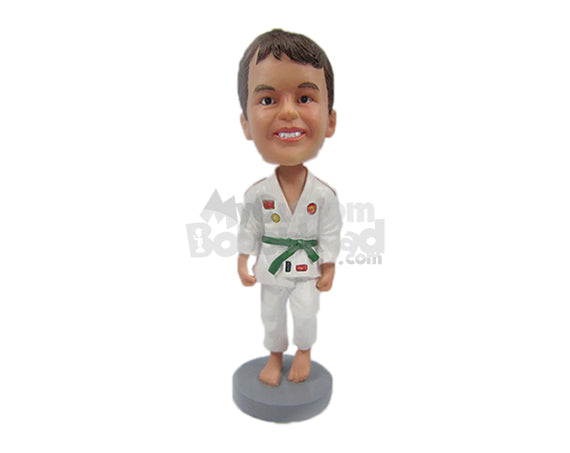 Custom Bobblehead Kid Judo In Martial Arts Attire Ready For His First Butt Kicking Lesson - Sports & Hobbies Boxing & Martial Arts Personalized Bobblehead & Cake Topper