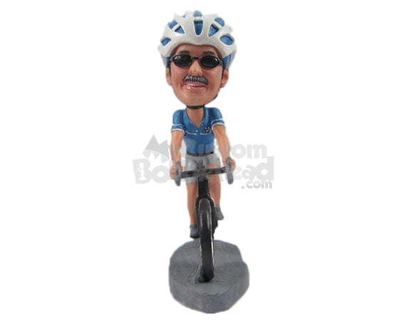 Custom Bobblehead Cool Dude On A Fast Race Road Bicycle - Sports & Hobbies Cycling Personalized Bobblehead & Cake Topper