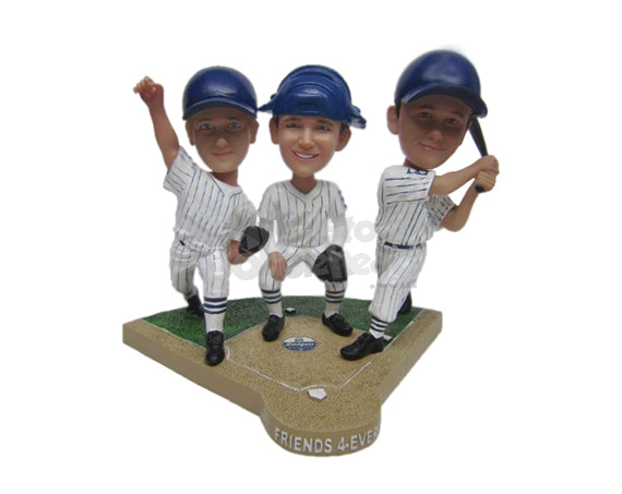 Custom Bobblehead Baseball Trio In Action - Sports & Hobbies Baseball & Softball Personalized Bobblehead & Cake Topper