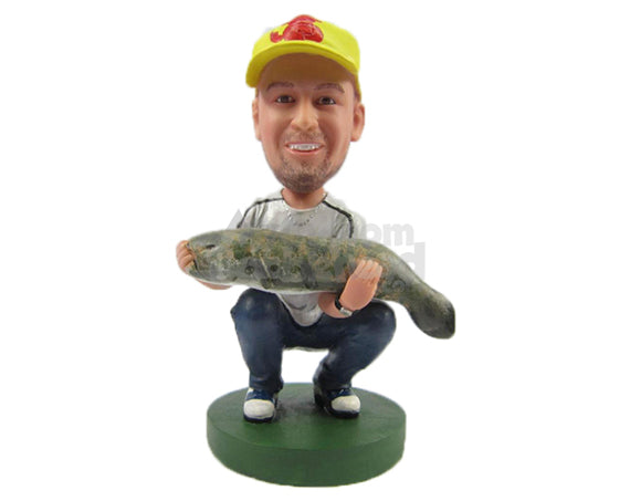 Custom Bobblehead Fisherman Dude Caught A Big Fish - Sports & Hobbies Fishing Personalized Bobblehead & Cake Topper