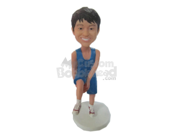 Custom Bobblehead Cool Basketball Dude Showing Off Some Skill With A Basketball - Sports & Hobbies Basketball Personalized Bobblehead & Cake Topper