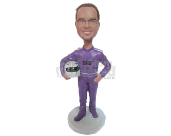 Custom Bobblehead Male Car Racer In Racing Outfit Ready To Turn On The Gas - Sports & Hobbies Car Racing Personalized Bobblehead & Cake Topper