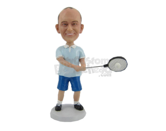 Custom Bobblehead Badminton Player In Action Shot Pose - Sports & Hobbies Tennis Personalized Bobblehead & Cake Topper