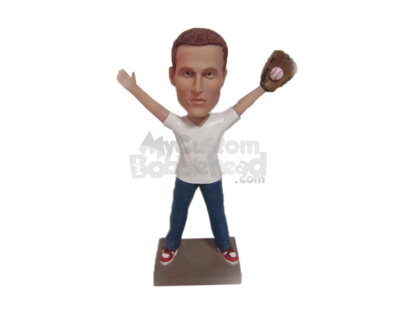 Custom Bobblehead Baseball Aficionado Catching The Ball To Win The Game - Sports & Hobbies Baseball & Softball Personalized Bobblehead & Cake Topper