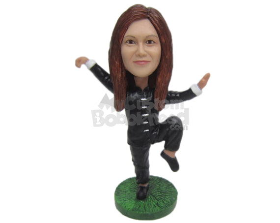 Custom Bobblehead Female Kungfu Master About To Show You Who Is In Charge - Sports & Hobbies Boxing & Martial Arts Personalized Bobblehead & Cake Topper
