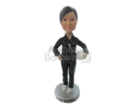 Custom Bobblehead Female Coach Giving Some Instructions To The Team - Sports & Hobbies Volleyball Personalized Bobblehead & Cake Topper