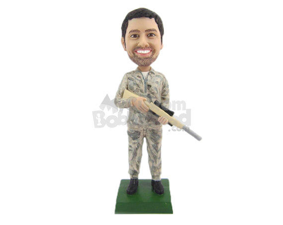 Custom Bobblehead Male Hunter With A Riffle Ready To Hunt Something Big - Sports & Hobbies Hunting & Outdoors Personalized Bobblehead & Cake Topper