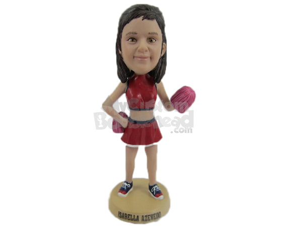 Custom Bobblehead Gorgeous Female Cheerleader Cheering For Her Team - Sports & Hobbies Cheerleading Personalized Bobblehead & Cake Topper