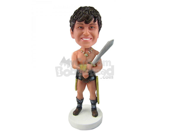 Custom Bobblehead Boy In Gladiator Avatar With Sword - Super Heroes & Movies Movie Characters Personalized Bobblehead & Cake Topper