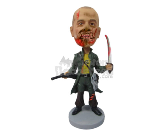 Custom Bobblehead Dangerous Zombie Holding A Knife And Gun - Super Heroes & Movies Movie Characters Personalized Bobblehead & Cake Topper