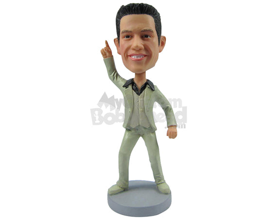 Custom Bobblehead Dude In Formal Outfit Pointing Up - Super Heroes & Movies Super Heroes Personalized Bobblehead & Cake Topper