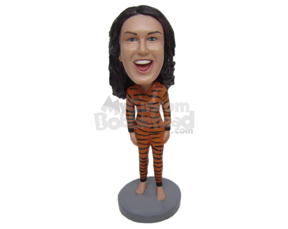 Custom Bobblehead Lady Wearing Tigress Outfit - Super Heroes & Movies Super Heroes Personalized Bobblehead & Cake Topper