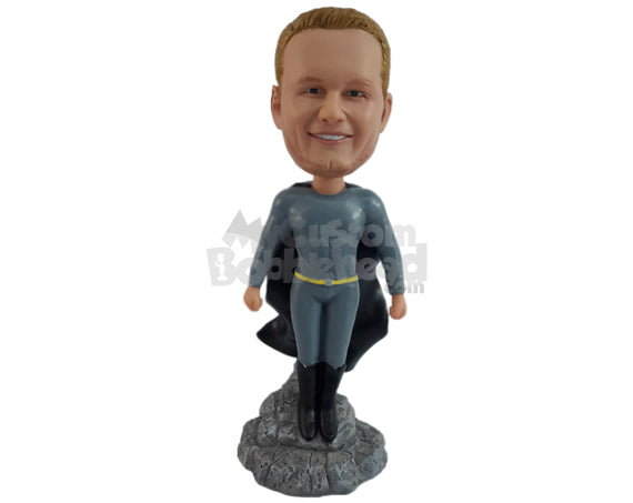 Custom Bobblehead Superhero In Action Costume Standing On A Mountain Top - Super Heroes & Movies Super Heroes Personalized Bobblehead & Cake Topper