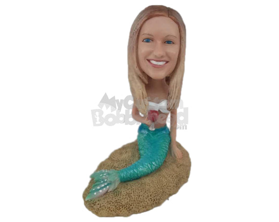 Custom Bobblehead Girl In Mermaid Costume With A Glass Of Wine - Super Heroes & Movies Movie Characters Personalized Bobblehead & Cake Topper