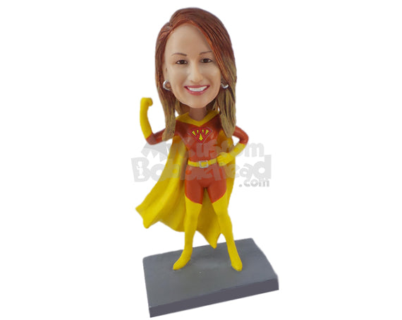 Custom Bobblehead Girl In Super Woman Costume Showing Her Muscle - Super Heroes & Movies Super Heroes Personalized Bobblehead & Cake Topper