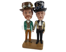 Custom Bobblehead Couple Dressed As Inventors From The Past With Tall Hats And Are Holding Hands - Super Heroes & Movies Movie Characters Personalized Bobblehead & Cake Topper