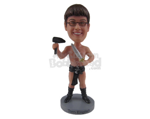 Custom Bobblehead Man In Underwear And Long Boots With A Knife - Super Heroes & Movies Movie Characters Personalized Bobblehead & Cake Topper
