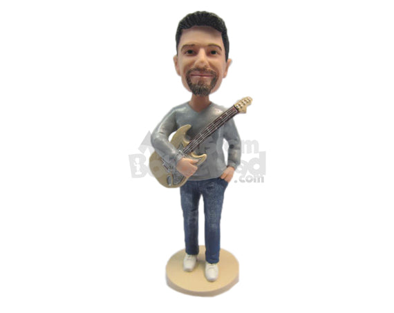 Custom Bobblehead Cool Dude Wearing A Trendy T-Shirt Holding A Guitar - Musicians & Arts Strings Instruments Personalized Bobblehead & Cake Topper