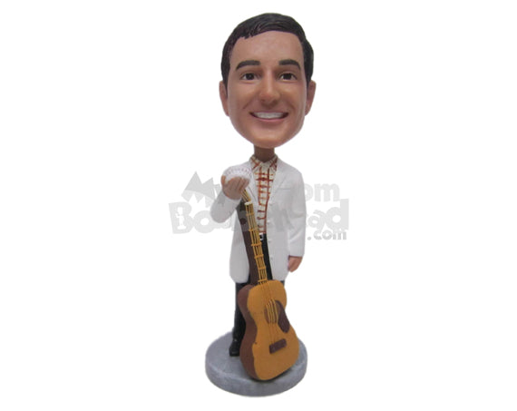 Custom Bobblehead Dentist Guitar Player Holding A Denture Prop - Musicians & Arts Strings Instruments Personalized Bobblehead & Cake Topper