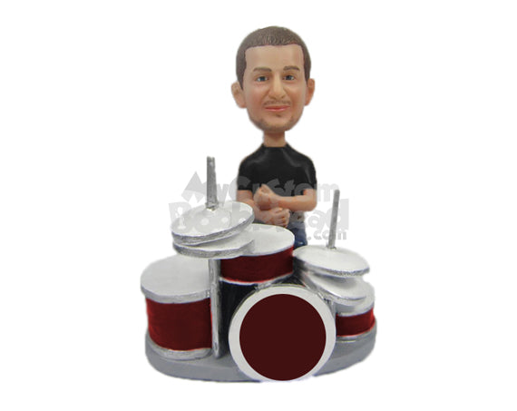 Custom Bobblehead Drummer In Casual Attire Waiting To Beat His Drum - Musicians & Arts Percussion Instruments Personalized Bobblehead & Cake Topper