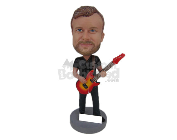 Custom Bobblehead Boy In T-Shirt Playing A Fancy Guitar - Musicians & Arts Strings Instruments Personalized Bobblehead & Cake Topper