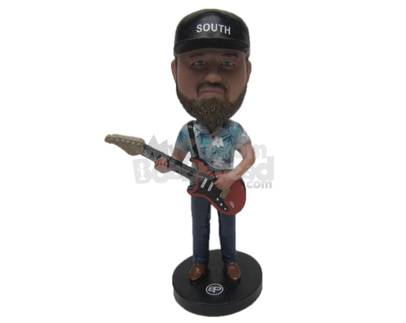Custom Bobblehead Man Wearing Shirt Ready With His Guitar - Musicians & Arts Strings Instruments Personalized Bobblehead & Cake Topper