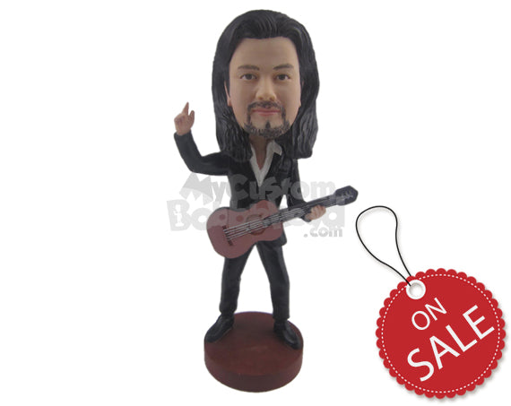 Custom Bobblehead Rockstar Guy Ready To Rock With His Guitar - Musicians & Arts Strings Instruments Personalized Bobblehead & Cake Topper