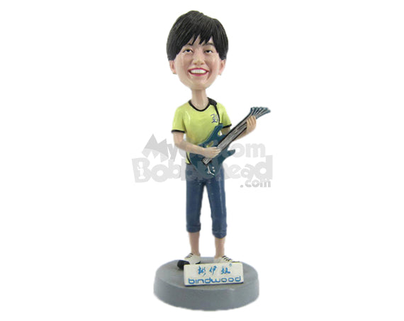 Custom Bobblehead Female Guitarist Wearing A T-Shirt And Jeans - Musicians & Arts Strings Instruments Personalized Bobblehead & Cake Topper