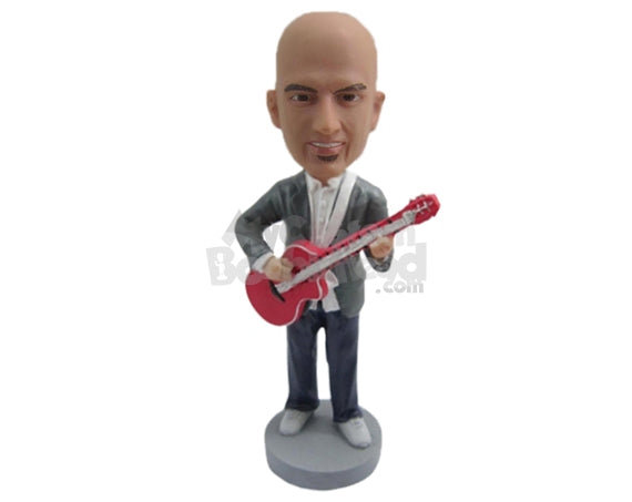 Custom Bobblehead Guitarist In A Jacket Playing A Guitar - Musicians & Arts Strings Instruments Personalized Bobblehead & Cake Topper