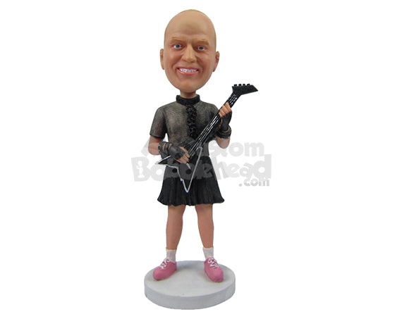 Custom Bobblehead Hard Rocker Guitar Player - Musicians & Arts Strings Instruments Personalized Bobblehead & Cake Topper