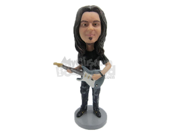 Custom Bobblehead Handsome Guitar Player With A Guitar - Musicians & Arts Strings Instruments Personalized Bobblehead & Cake Topper