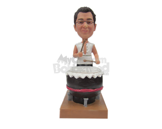 Custom Bobblehead Drummer Beating It In Casual Attire - Musicians & Arts Strings Instruments Personalized Bobblehead & Cake Topper