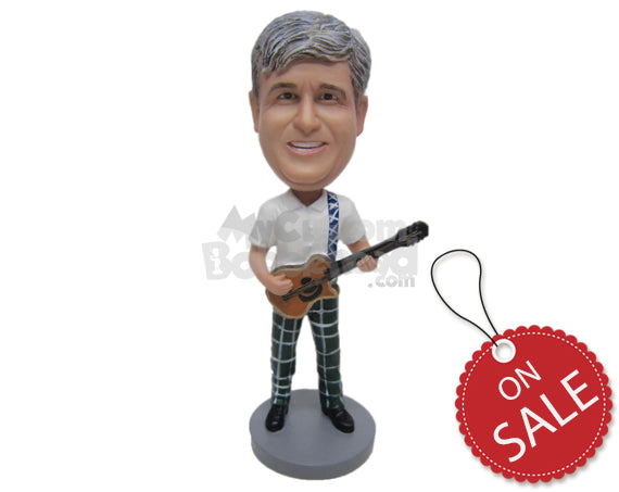 Custom Bobblehead Fashionable Guitar Player Creating New Tunes - Musicians & Arts Strings Instruments Personalized Bobblehead & Cake Topper
