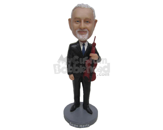 Custom Bobblehead Dude In A Formal Attire With A Fiddle In Hand - Musicians & Arts Strings Instruments Personalized Bobblehead & Cake Topper