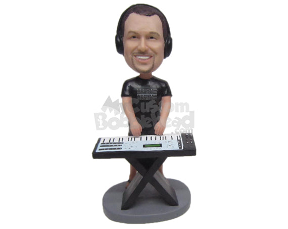 Custom Bobblehead Electric Keyboard Player Wearing Stylish T-Shirt - Musicians & Arts Percussion Instruments Personalized Bobblehead & Cake Topper